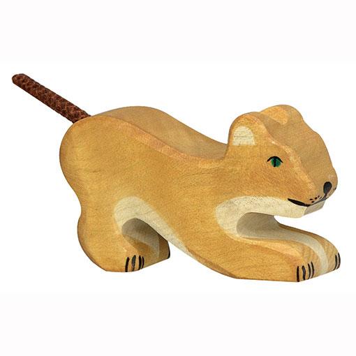 Holztiger Houten Leeuwenwelp Spelend