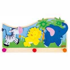 Goki Houten Kapstok Jungledieren - 3 stokjes