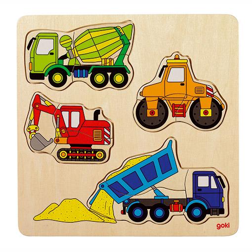 Houten legpuzzel bouwwerfvoertuigen