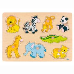 Houten legpuzzel safari dieren 8 delig
