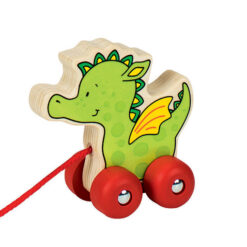 Houten trekfiguur groene draak