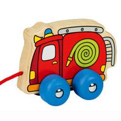Houten trekfiguur voertuig brandweer