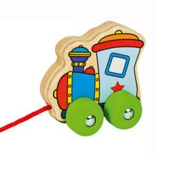 Houten trekfiguur voertuig trein