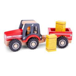 Rode Houten Tractor met hooi