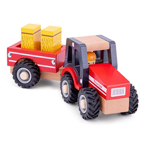 Rode Tractor met Hooi