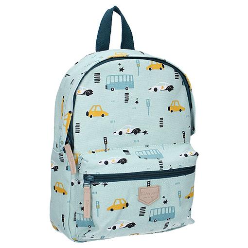 Blauwe Kinderschooltas met Auto's en Bussen